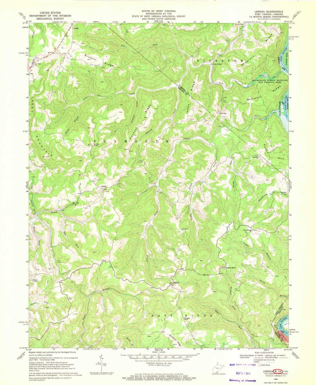 Amazon.com : YellowMaps Lerona WV topo map, 1:24000 Scale, 7.5 X 7.5 Minute, Historical, 1968, Updated 1972, 27 x 22.1 in - Polypropylene : Sports & ...