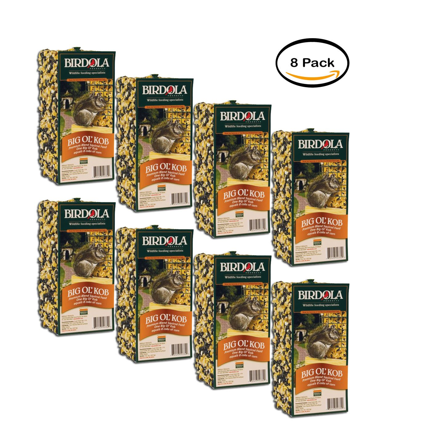 PACK OF 8 - Birdola Big Ol' Kob Squirrel Feed