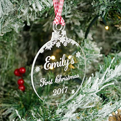 reputable site ff17a fdbcd Rustic Charm Baby's First Christmas, Personalised Xmas Tree Decoration.  Clear Acrylic Bauble. 1st With Engraved Name. Snowflakes Decor.
