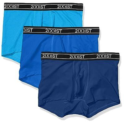 2(X)IST Men's 3 Pack Tech Honeycomb Mesh No Show Trunk: Clothing