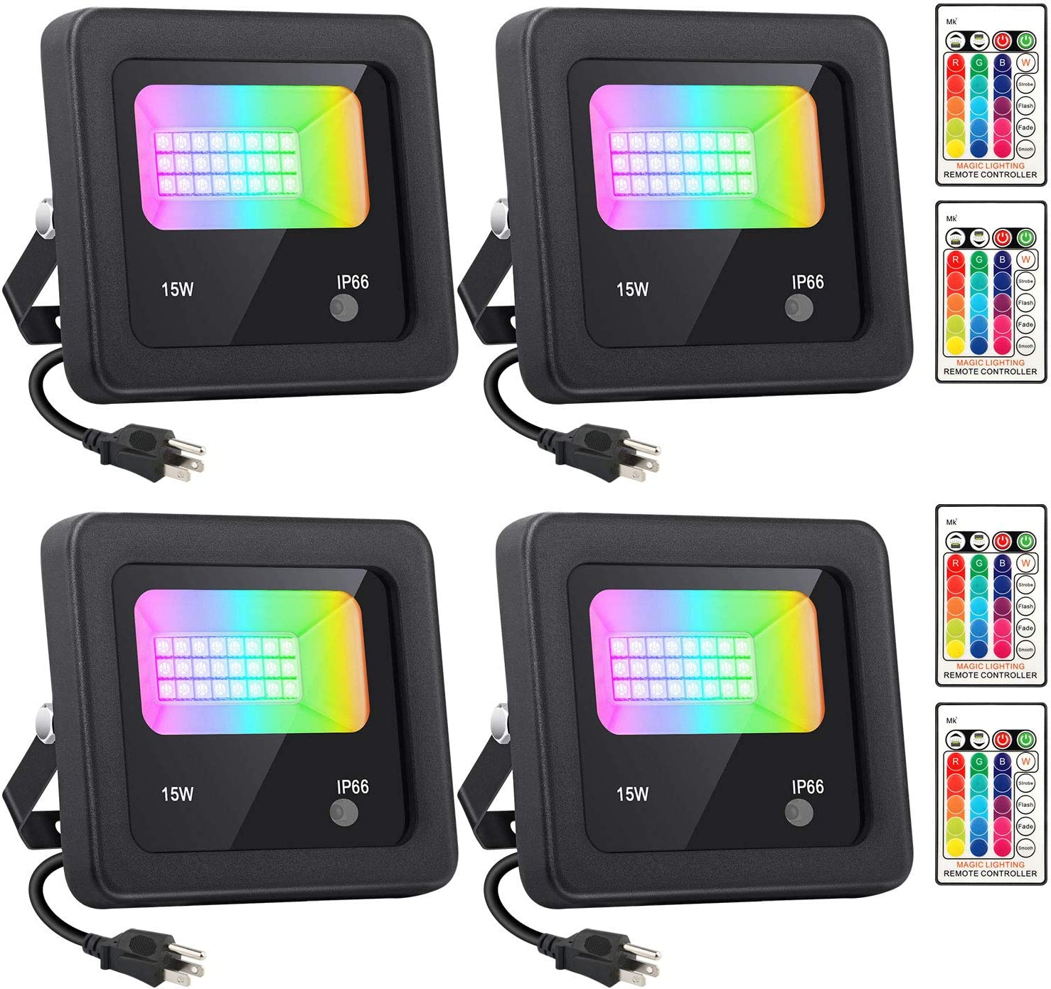 RGBW LED Flood Lights with Remote Control, 4 Pack 15W IP66 Waterproof Dimmable Color Change Light, 16 Colors 4 Modes Indoor Outdoor Wall Washer Spot Light for Stage Building Garden Landscape Lighting