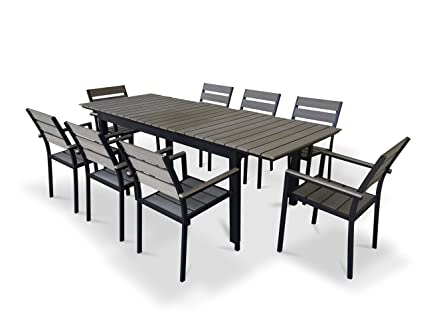 UrbanFurnishing.net   9 Piece Eco Wood Extendable Outdoor Patio Dining Set