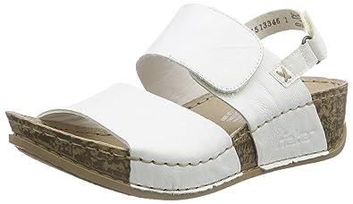 Rieker Offene Damen Sandalen mit Keilabsatz Gr.42 weiß