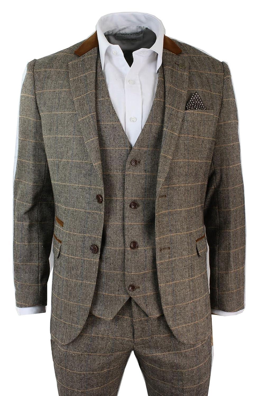 Herrenanzug Vintage Fischgräte Braun Tweed Optik 3 Teilig Eng ...