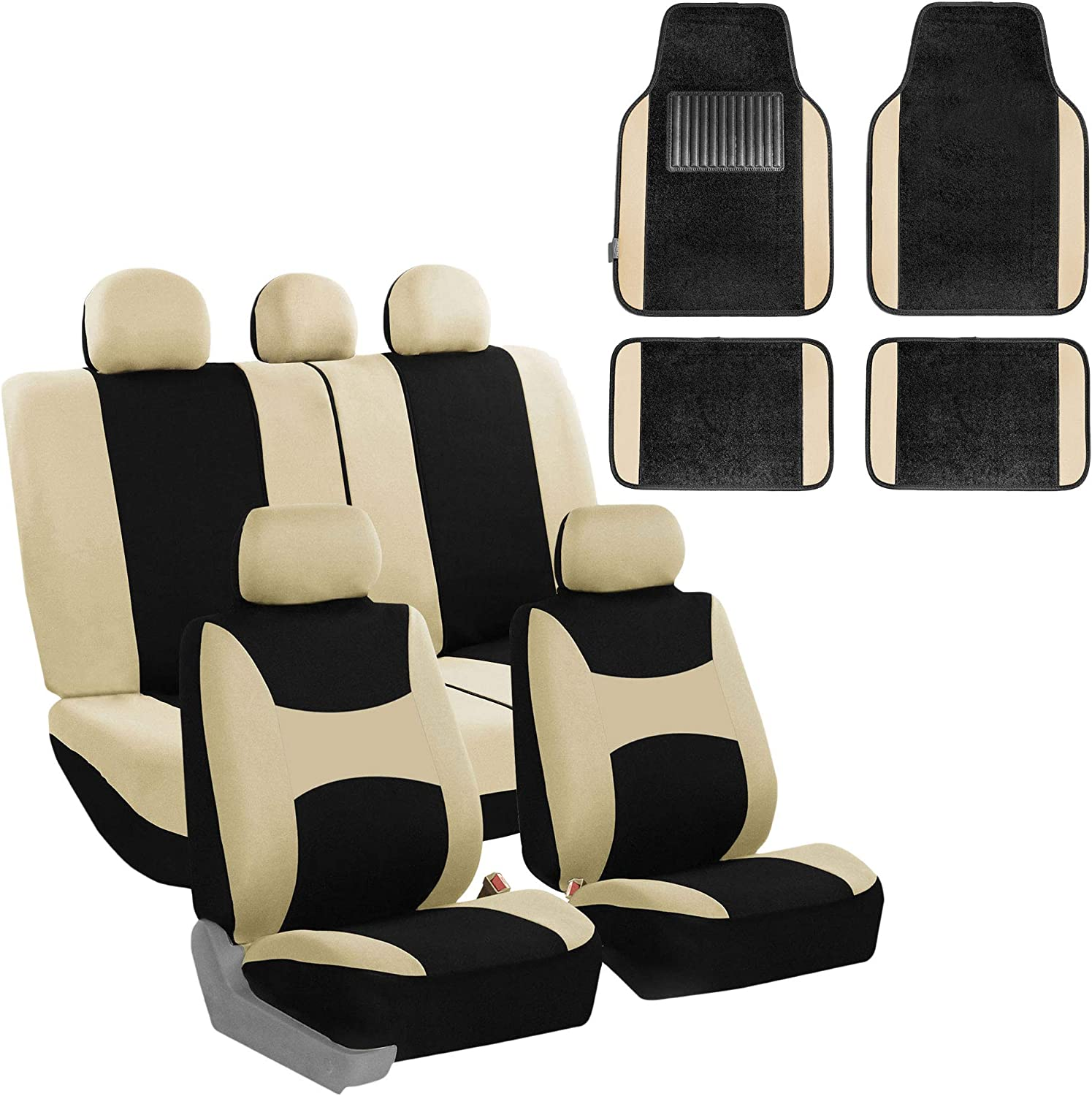 SUV Fit Most Car or Van Carpet Floor Mats Solid Black Truck FH Group FB030115 Light /& Breezy Cloth Seat Cover Set Airbag /& Split Ready w