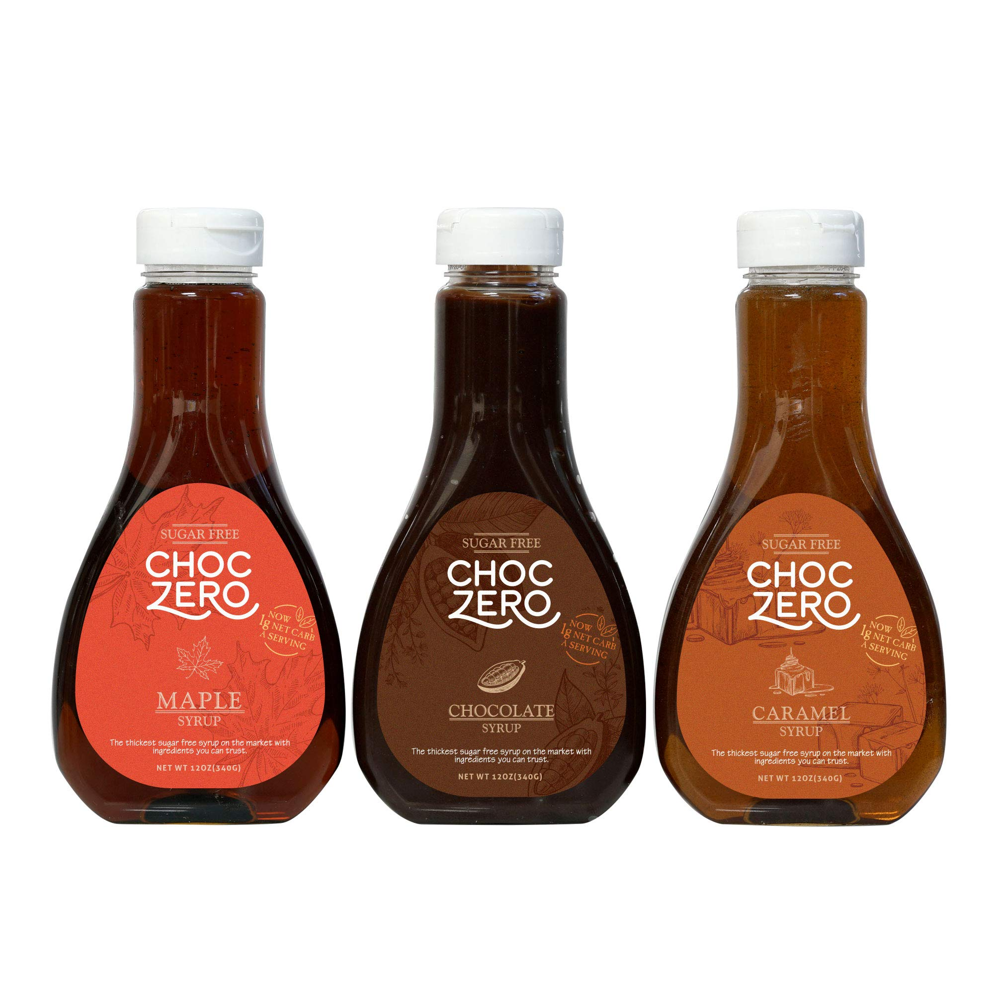 ChocZero Syrup Variety Pack. Sugar-free, Low Carb, No Preservatives. Thick and Rich. No Sugar Alcohol, Gluten-Free. 3 Bottles (Chocolate, Caramel, Maple) by ChocZero (Image #1)