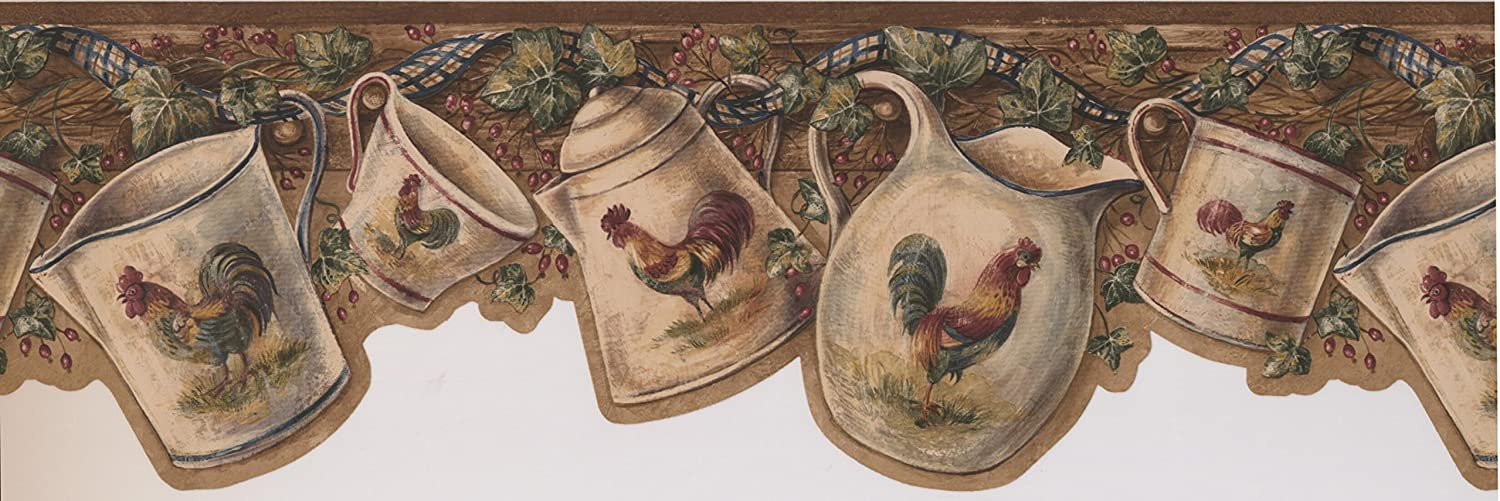 White Cup Kettle with Rooster Hanging on Hooks Red Berries Dark Beige Vintage Wallpaper Border Retro Design Roll 15 x 7.5