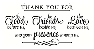 Wall Décor Plus More WDPM2280 Thank You for Food, Friends, Love, Presence Wall Vinyl Sticker Quote, 12x23-Inch, Black