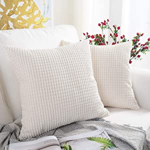 MERNETTE Pack of 2, Corduroy Soft Decorative Square Throw Pillow Cover Cushion Covers Pillowcase, Home Decor Decorations for Sofa Couch Bed Chair 18x18 Inch/45x45 cm (Granules Cream White)