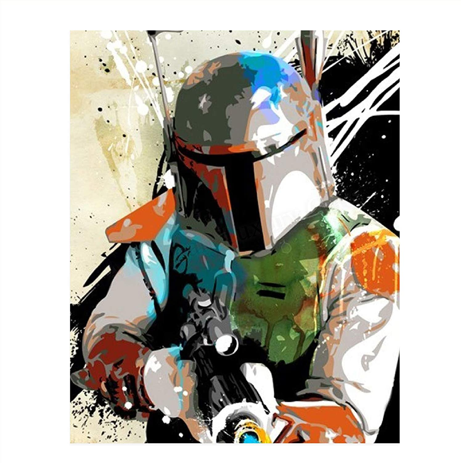 "Star Wars- Boba Fett Abstract Poster Print-8 x 10"" Wall Art Print. Modern Space Art- Ready to Frame. Star Wars Decor for Home-Office-Man Cave-Theater Room-Dorm. Perfect Gift for Star War Fans."