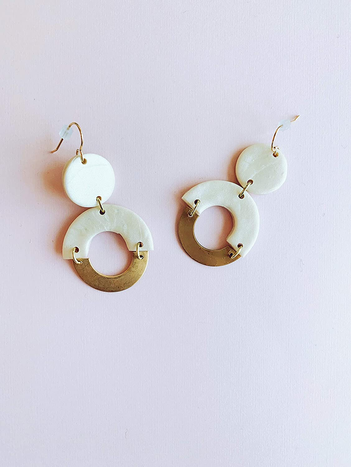 White Clay and Brass Earrings//Modern Abstract Dangle earrings//Lightweight Dangle and drop Hypo-allergenic statement earrings//gift for her