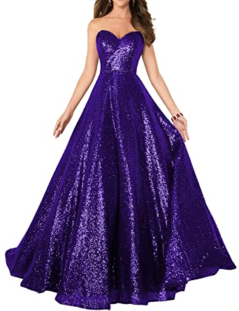 096637837e7 2019 Strapless Sequined Prom Party Dress for Women A Line Empire Waist  Sweetheart Neck Formal Evening