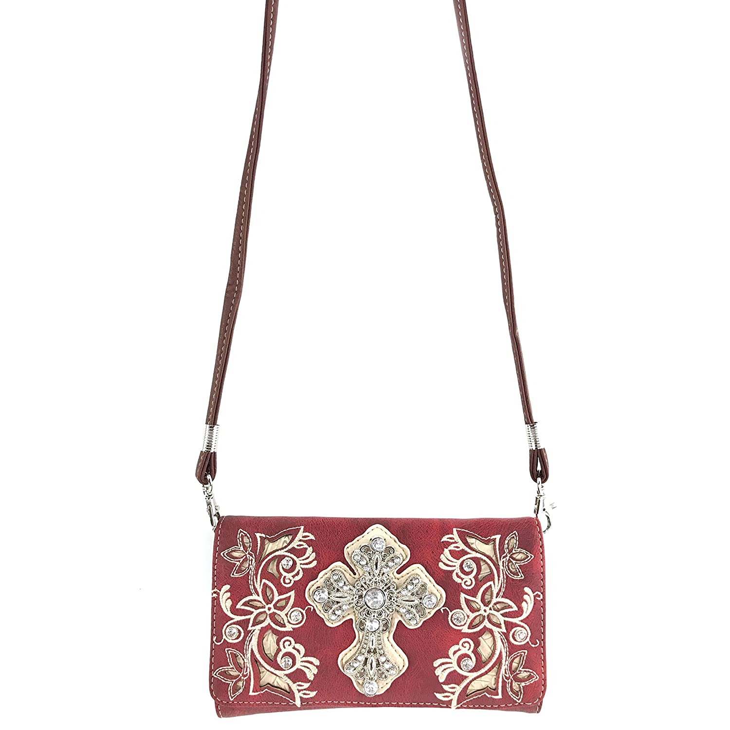 Justin West Embroidery Floral Rhinestone Silver Cross Laser Cut Tooled Leather Western Shoulder Concealed Carry Handbag Purse Messenger Bag Tote Wallet