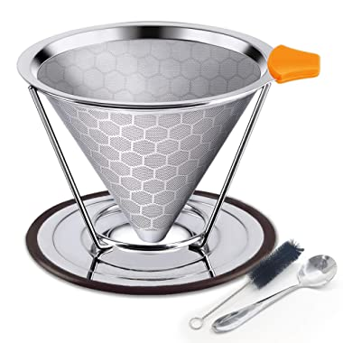 Honeycombed Stainless Steel Coffee Filter, Reusable Pour Over Coffee Filter Cone Coffee Dripper with Removable Cup Stand and Bonus Brush, Stainless steel spoon