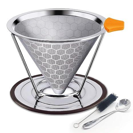 Amazon.com: Filtro de café de acero inoxidable con soporte ...