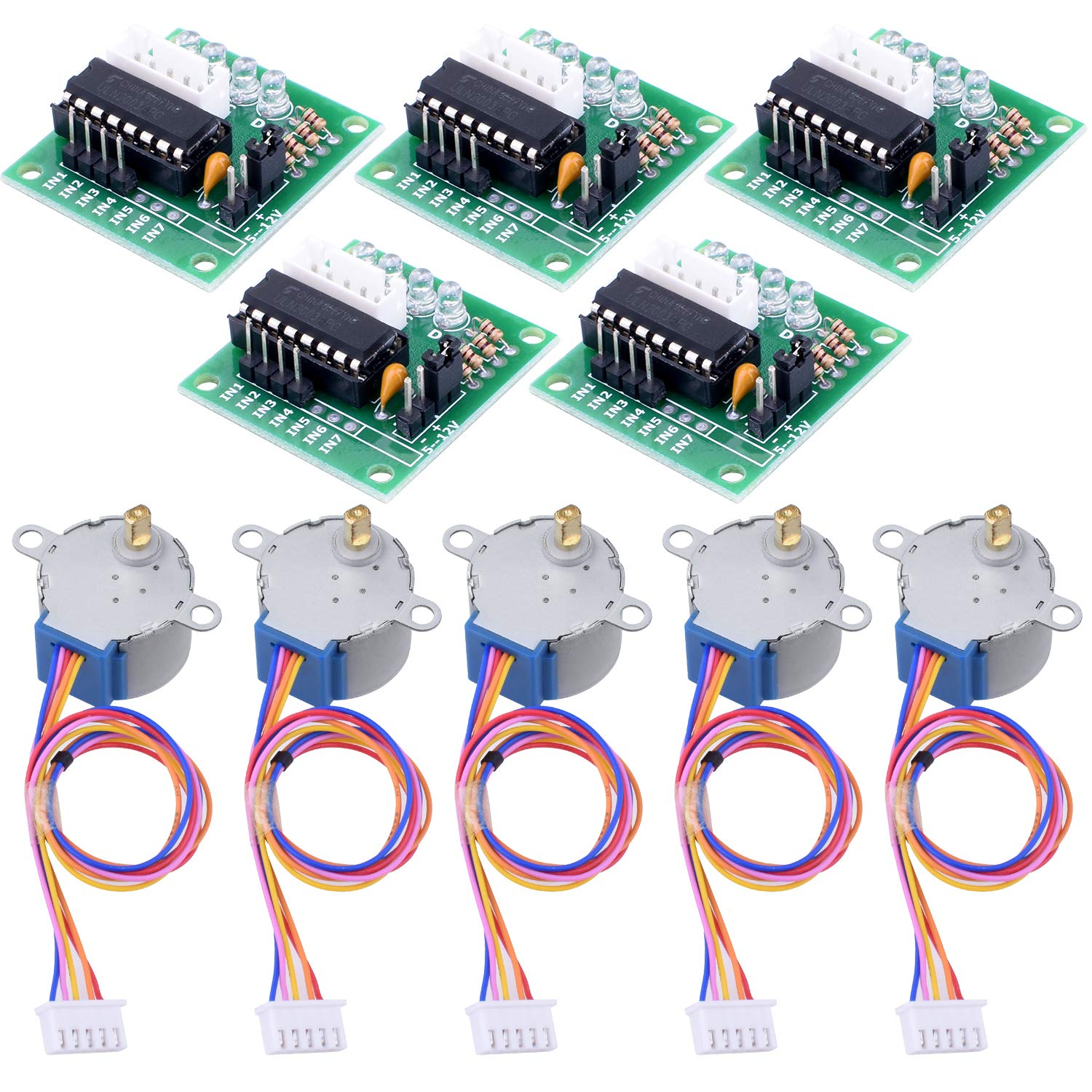 Longruner 5X Geared Stepper Motor 28byj 48 Uln2003 5v Stepper Motor Uln2003  Driver Board for arduino (with Wire)