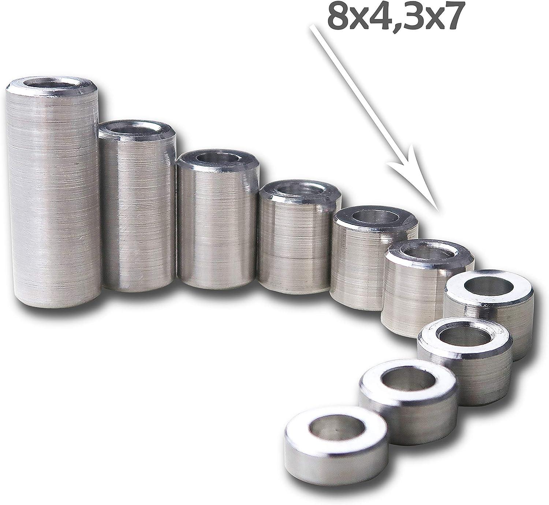 PROTECH 10 St/ück Distanzh/ülsen aus Aluminium 6x3,2x5 Alu H/ülsen Abstandsh/ülse Abstandhalter Rohrbuchse