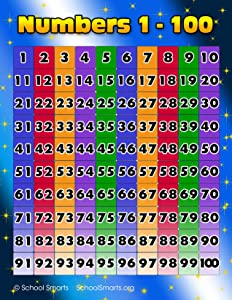 Numbers 1-100 Chart by School Smarts. Fully Laminated,Durable Material Rolled and SEALED in Plastic Poster Sleeve for Protection. Discounts are in the special offers section of the page.