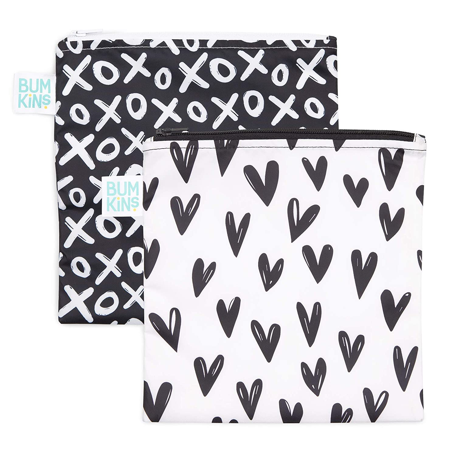 Bumkins Sandwich Bag/Snack Bag Set, Reusable, Washable, Food Safe, BPA Free 2 Pack 7x7 - Hearts & XOXO, SBL2-GG