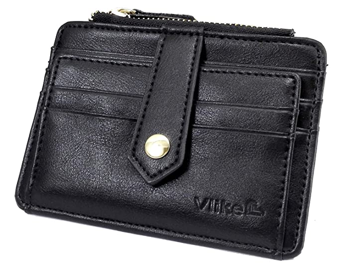 0c82fc11287b Vlike Mini slim Credit Card Case Wallet with ID Window and Zipper Holder  purse