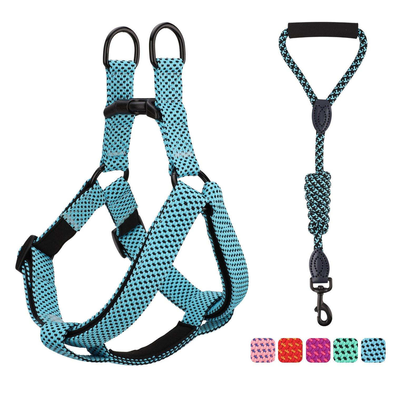Pawaboo Dog Leash Harness Set, Durable Adjustable Heavy Duty No Pulling Dog Harness + Leash for Pet Dog Training Walking Running, Large Size, Blue