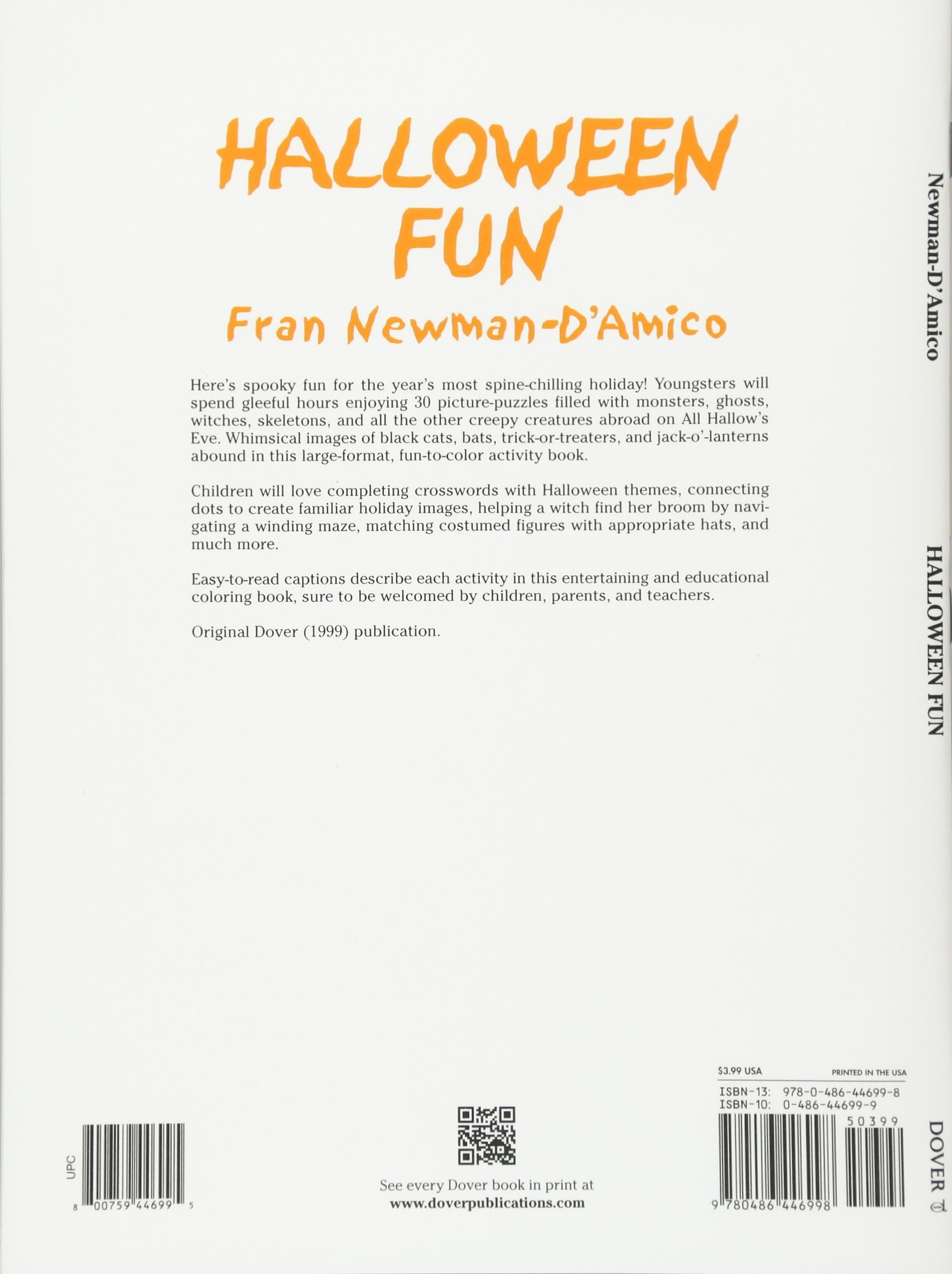 Childrens educational coloring activity book - Halloween Fun Dover Holiday Coloring Book Fran Newman D Amico 9780486446998 Amazon Com Books