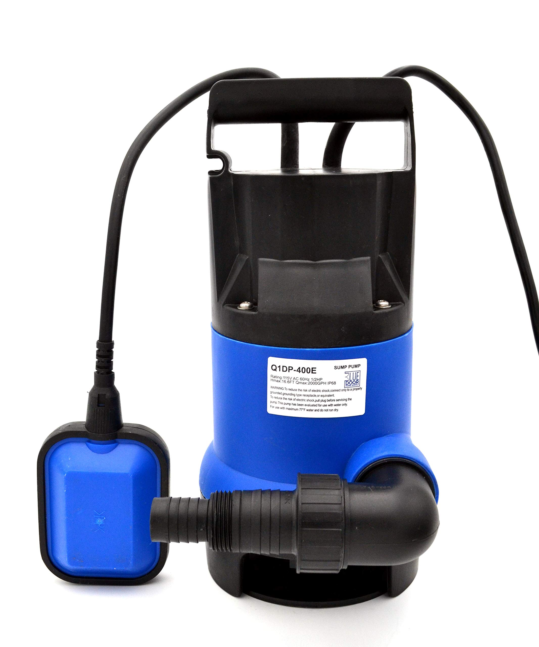 Submersible Clean/Dirty Water Sump Pump, Great for Outside Swimming Pools, Ponds, or Indoor Basements and Floods | 1/2 HP | Utility by BD Supply