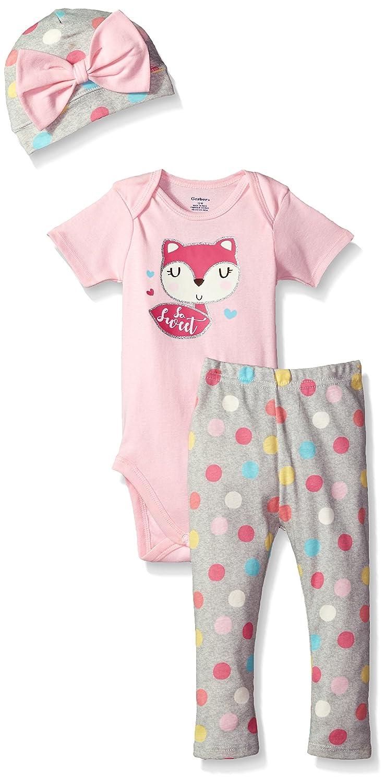 Gerber Baby Girls' 3-Piece Bodysuit, Pant and Cap Set Gerber Children' s Apparel