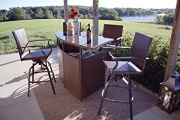 Palmerton Landing Outdoor 5 Piece Bar Height Patio Dining Set, Seats 4