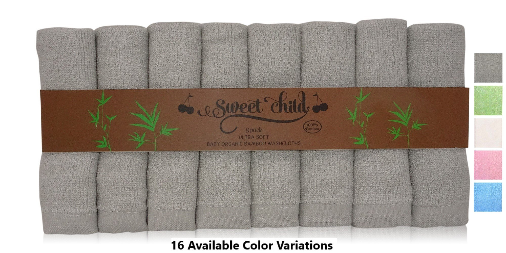 SWEET CHILD Bamboo Baby Washcloths (Bonus 8-Pack) - Premium Extra Soft & Absorbent Towels For Baby's Sensitive Skin-Perfect 10''x10''-Excellent Baby Shower/Registry Gift (10''x10'', Grey)