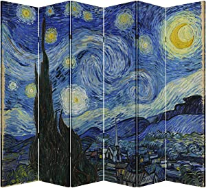 6 Panel Folding Screen Canvas Privacy Partition Divider- Van Gogh's Starry Night