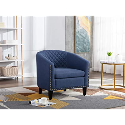 Lokee Barrel Accent Chair with Arms Linen Fabric Club Chairs Bucket Chair  Upholstered Tub Chair for Living Room Bedroom (Navy)