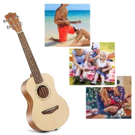 Ukelele Soprano, Hricane Ukelele 21 Pulgadas de Caoba, Veneer Hawaiian Ukulele Con Bolsa de Transporte Estándar y Cuerda de Repuesto, Diferentes tamaños ...