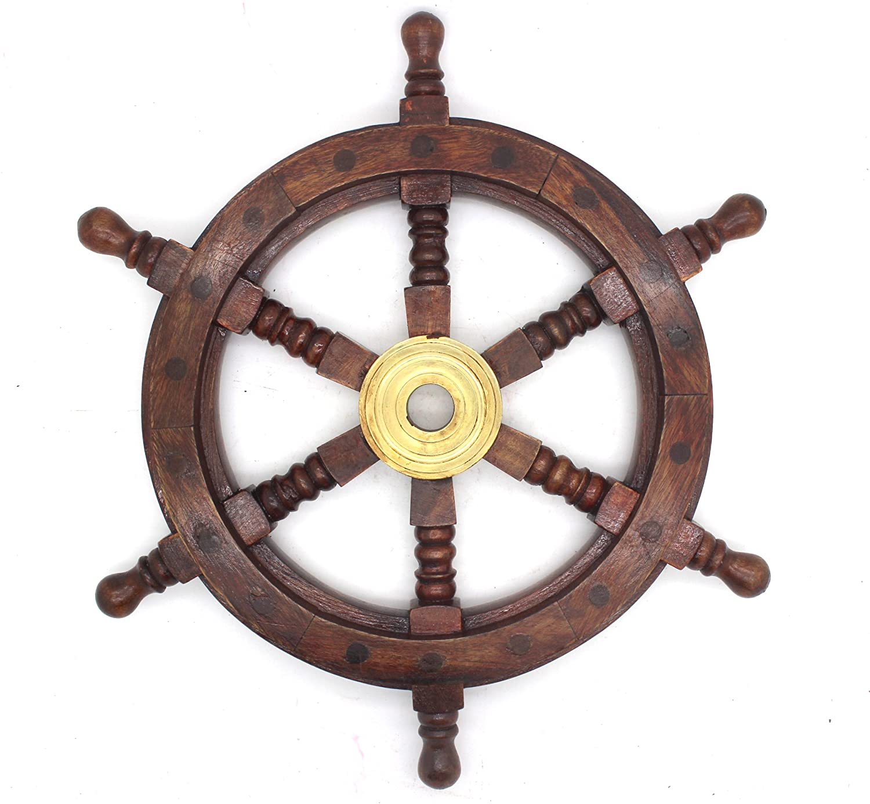 Govinda - Nautical Wood and Brass Ship Wheel - 12 Inches Govinda®