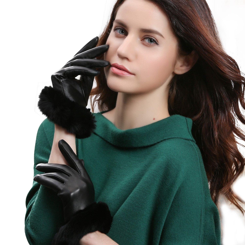 GSG Womens Hi-tech Touchscreen Italian Nappa Leather Driving Gloves Ladies Genuine Rex Rabbit Fur Gloves M Black-HI