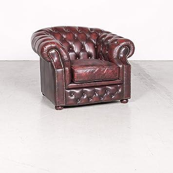 Chesterfield Leder Sessel Rot Echtleder Vintage Retro #8119 ...