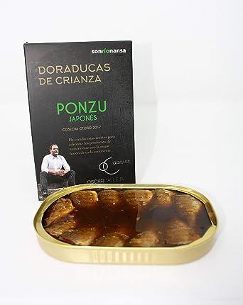 Conserva Gourmet de Dorada de crianza ecológica en salsa Ponzu japonesa, Envasado en Santoña,