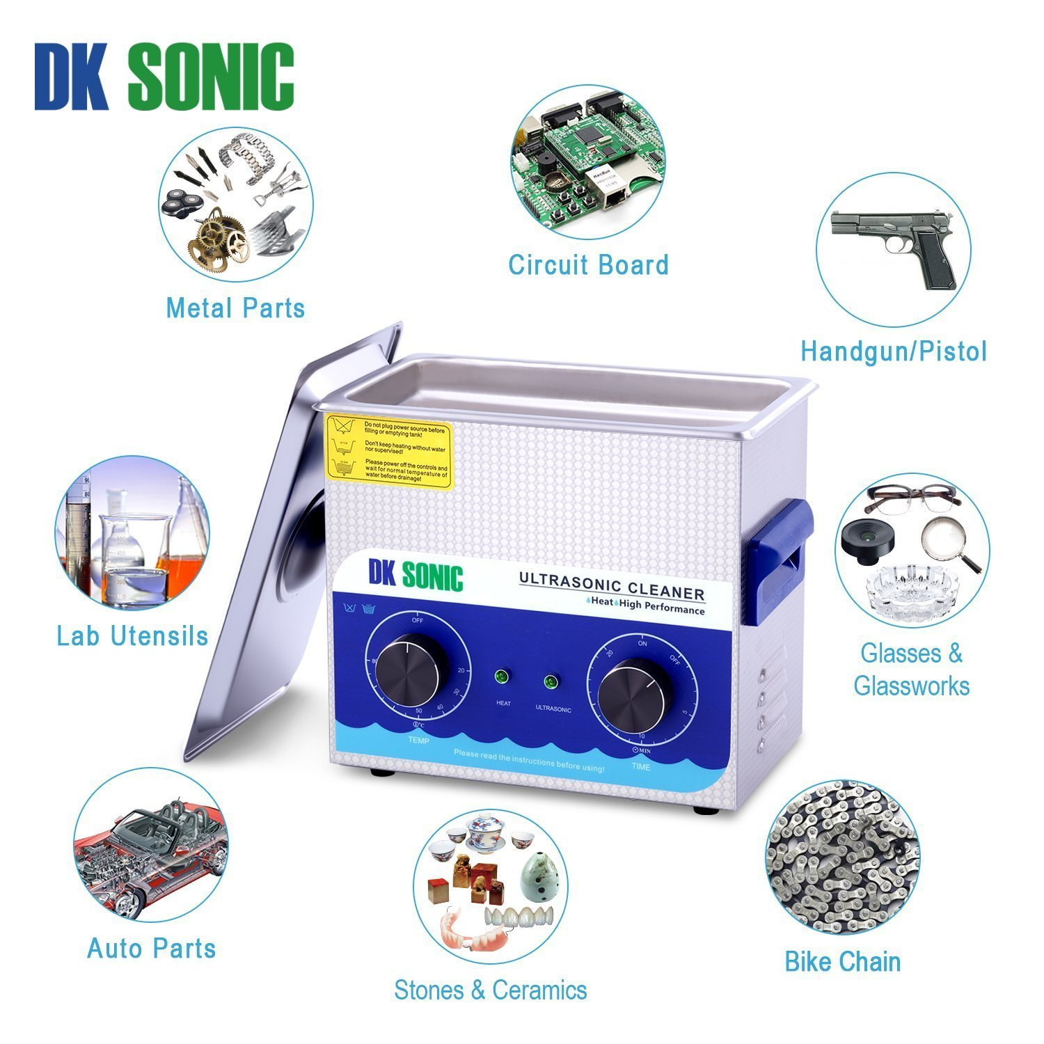 Commercial Ultrasonic Gun Cleaner Heated - DK SONIC 3L 120W Ultrasonic Jewelry Cleaner with Heater Basket for Parts Denture Carburetor Eyeglass Fuel Injector Record Circuit Board Dental 40KHz by DK SONIC (Image #6)