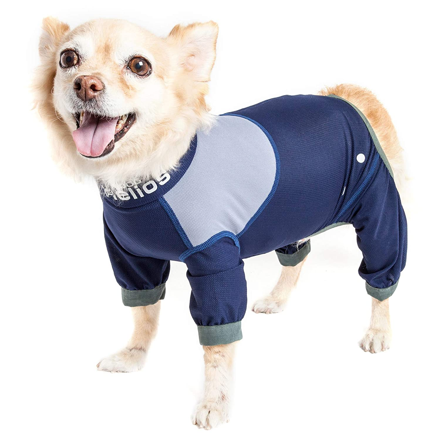 Dog Helios Tail Runner' Lightweight 4-Way-Stretch Breathable Full Bodied Performance Dog Track Suit, Large, bluee