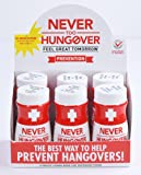 Hangover Prevention Nutrient Replenishment Drink - Never Too Hungover - with electrolytes for rehydration - Helps Prevent a Hangover by neutralizing toxins - 6 Pack - 3.4 Oz Shot Bottles