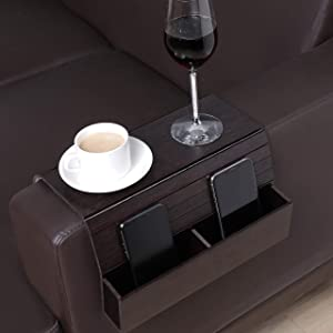 GEHE Sofa Arm Tray Table for Couch Flexible/Foldable Sofa Tray Couch arm Table Perfect for Drinks Snacks Remote Control or Phone Great arm Tray for Couch armrest (Walnut Brown with Box)
