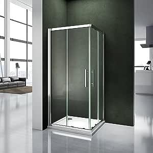 Aica Italia - Mampara de ducha angular con hojas deslizantes de cristal templado transparente de 6 mm: Amazon.es: Bricolaje y herramientas