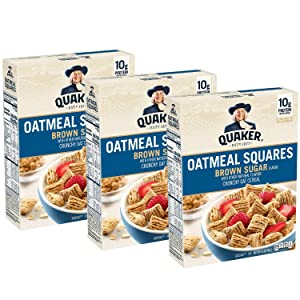 Quaker Oatmeal Squares Breakfast Cereal, Cinnamon, 14.5oz Boxes (3 Pack)