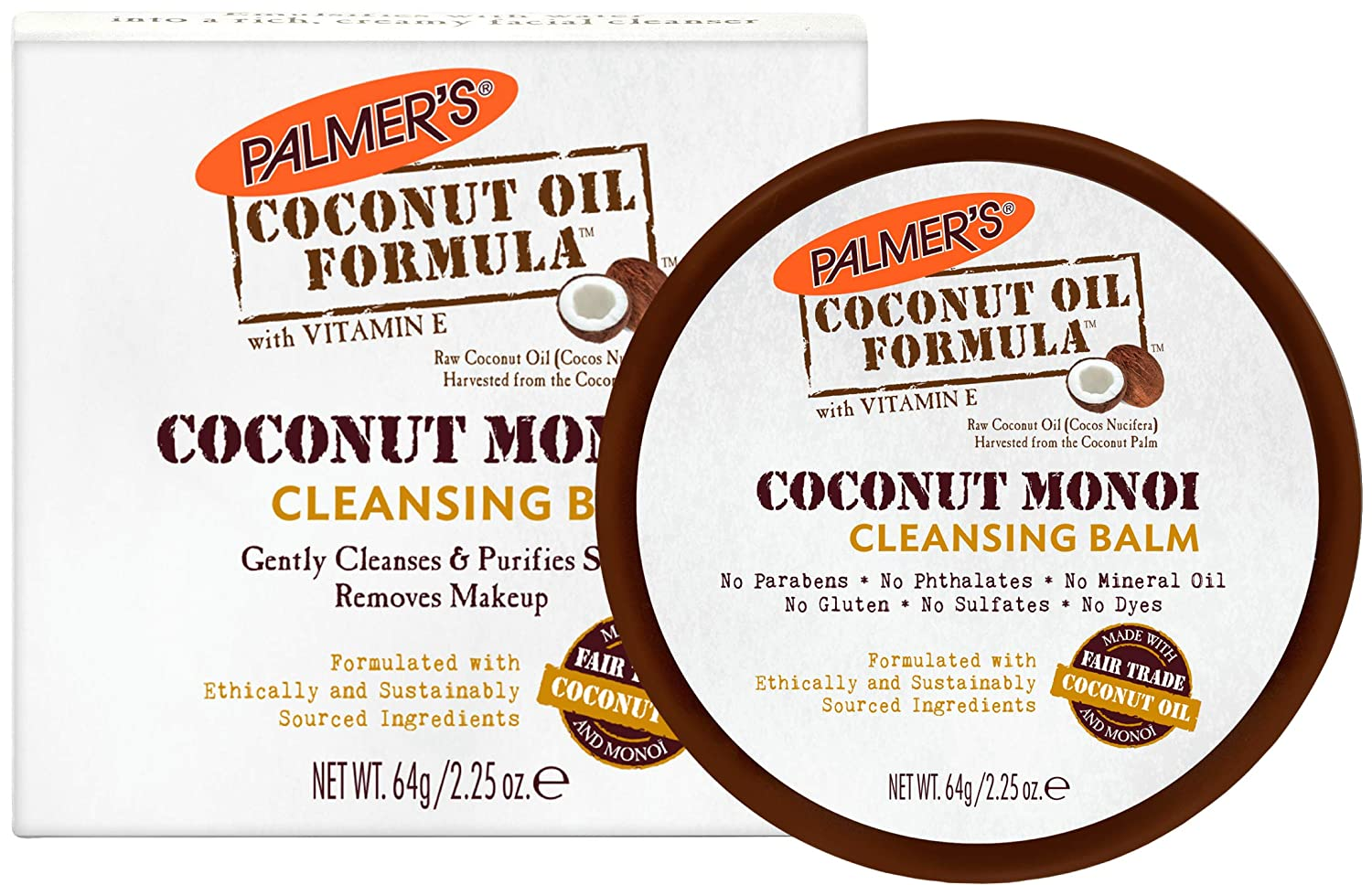 Palmer's Coconut Oil Formula, Coconut Monoi Facial Cleansing Balm | Gently Cleanses & Purifies Skin | Makeup Remover | Jar 2.25 oz