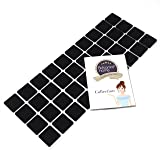 Adsamm® | 40 x Feltrini | 25x25 mm | nero | quadrati | Piedini mobili in feltro autoadesivo di 3.5 mm di spessore di alta qualità