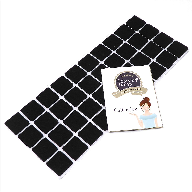 Protectores de suelo para patas de mueble negro auto-adhesivos 400 x almohadillas de fieltro cuadrado con grosor de 3,5 mm de la m/áxima calidad Adsamm/® 25x25 mm
