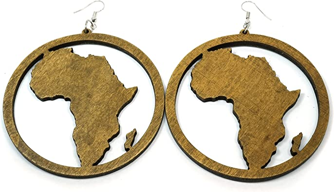 Teris Boutique Bohemian Ethnic African Wooden Big Dangle Drop Style Earrings