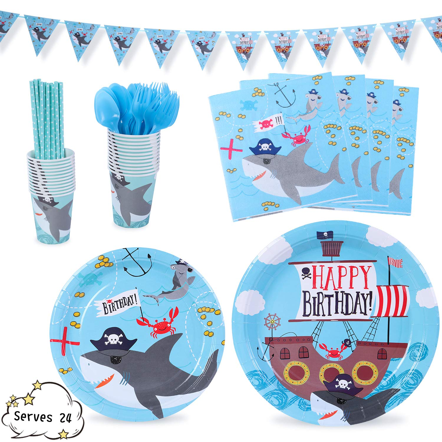 Shark Party Supplies Decorations Pirate Corsair Ocean Dinnerware 169 Pcs Serves 24 Includes 7''&9'' Paper Plates Napkins Straws Knives Forks Cups Banner For Birthday, Shark Priate Themed Parties by Party Family