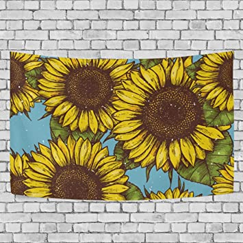 Amazon.com: La Random Vintage Retro Sunflower Wall Tapestry Hanging ...