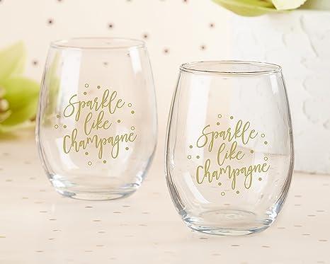 a96103c299b Amazon.com | Kate Aspen, Sparkle Like Champagne 15 oz. Stemless Wine ...